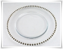 Clear Beaded Glass Charger Plates (GOLD) £2.20 each